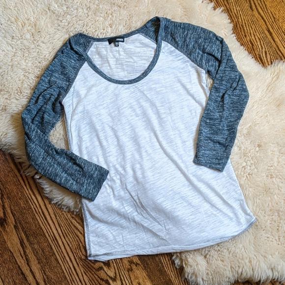 Aritzia Marled Grey/White Baseball Shirt